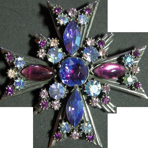 Signed Florenza Vintage Maltese Cross Purple,Blue,Lavender, AB Brooch Pin Pendant