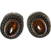 Vintage Sterling Silver 925 Baltic Honey Amber Cabochon Clip On Earrings
