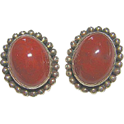 Vintage Carnelian Sterling Silver 925 Clip-on Earrings