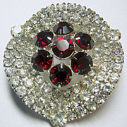 Vintage Dark Red & Clear Rhinestone Dressy Silver Tone Brooch/Pin