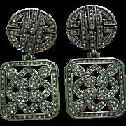Vintage Heidi Daus Deco Style Swarovski Crystals Square Dangle Clips Earrings