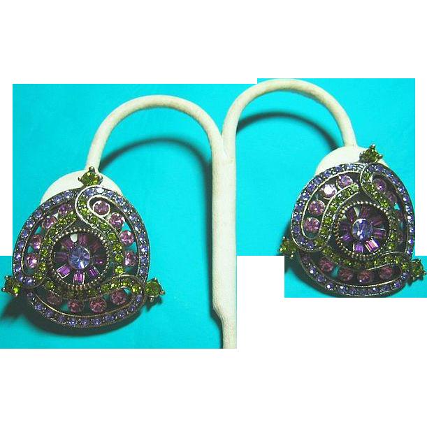 Vintage Signed Big Heidi Daus Purple, Lavender & Olivine Green Swarovski Crystals Clip On Earrings