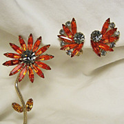 Vintage Brooch/Pin & Earrings Orange/Smoky Navette Rhinestone Flower Demi-Parure SET