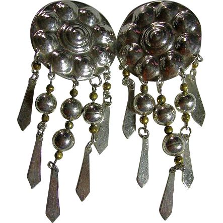 Long 925 Sterling Silver Mexican Vintage Clip On Earrings Dangling