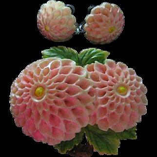 Vintage Celluloid Delicate Pink Flower Pin & Screw Back Earrings Set