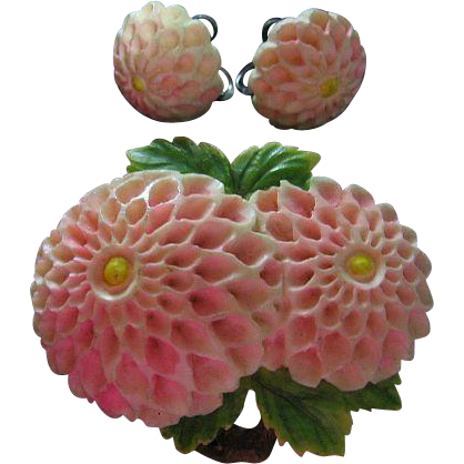 Vintage Celluloid Dahlia Pink Flower Pin & Screw Back Earrings Set