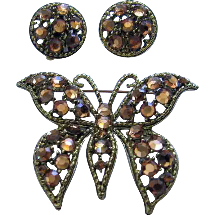 weiss vintage aurum gold rhinestone butterfly brooch pin. Black Bedroom Furniture Sets. Home Design Ideas
