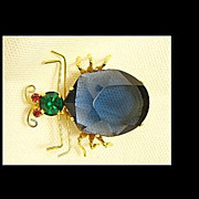 Vintage Austria Big Showy Blue Belly Bug/Insect Figural Brooch/Pin