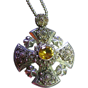 Vintage Ornate Sterling Silver 925 Cannetille & Citrine Jerusalem Cross Pendant/Necklace