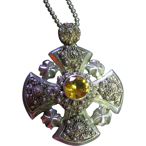 Vintage Ornate Jerusalem Cross Sterling Silver 925 Pendant/Necklace Cannetille & Citrine