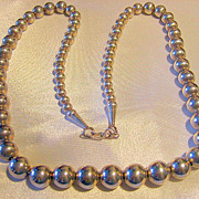 925 Sterling Silver Big Beads Vintage Necklace On Chain