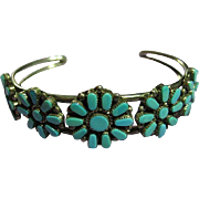 Native American Zuni 925 Sterling Silver & Needlepoint Turquoise Flower Bracelet  Open Cuff