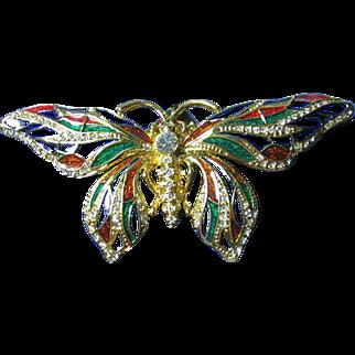 Jackie Kennedy Big Colorful Cloisonne Enamel Butterfly Pendant/Necklace/Brooch