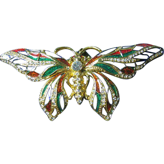 Jackie Kennedy Big Colorful Cloisonne Enamel Butterfly Pendant/Necklace/Brooch
