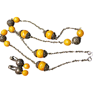 Vintage Long Tribal Style Necklace & Clip Earrings Set Faux Amber/Dark Silver Tone
