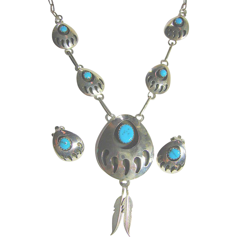 Necklace & Earrings Set Vintage Native American Shadow Box Bear Claw Sterling Silver 925 & Turquoise
