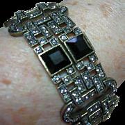 Heidi Daus Bracelet Art Deco Style Swarvorski Black Diamond Rhinestones