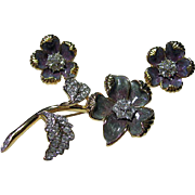 Signed Set Nolan Miller Flower Brooch & Pierced Earrings