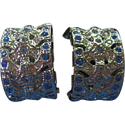 Jacqueline Kennedy Small Half Hoop Clips Earrings Blue & Clear Rhinestone/Silver Tone