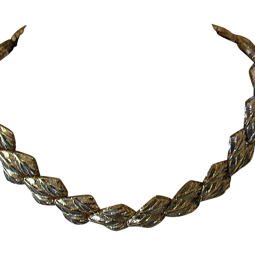 Vintage Napier Classic Gold Tone Detailed Leaf Necklace