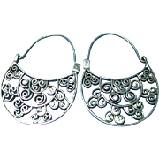 Showy Sterling Silver 925 Vintage Filigree Big Pierced Earrings