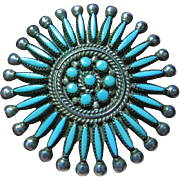 Native American Zuni Petite Needle Point Turquoise Sterling Silver 925 Pin/Pendant