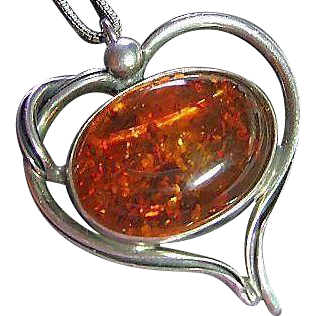 Vintage Sterling Unusual Heart Honey Amber Cabochon Pendant / Pin Necklace