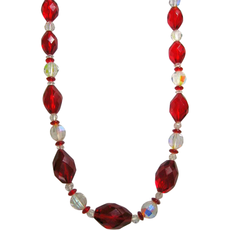 Gorgeous Vintage Long Necklace of Red Faceted & Aurora Borealis Glass Beads