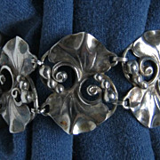 Showy Sterling Silver 925 Wide Bracelet Vintage Leaf