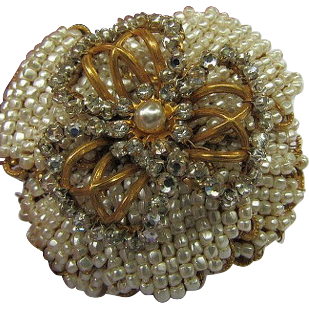 Vintage Miriam Haskell Stunning Floral, Flower Brooch/Pin Faux Seed Beads & Rhinestones Russian Gold Tone