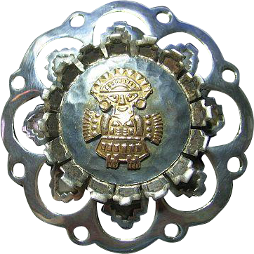 Unique Sterling/18kt Gold Figural Big Mexican Pendant/Brooch