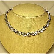 Designer Signed Necklace Trifari Vintage Faux Pearl & Rhinestone Silver Tone Leaf Bridal