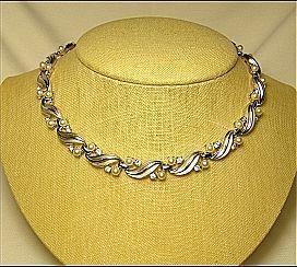 Necklace Designer Signed Trifari Vintage Faux Pearl & Rhinestone Silver Tone Leaf Bridal