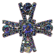 Showy Blue Rhinestone Brooch/Pin Aurora Borealis Maltese Cross
