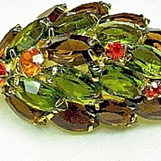 Brooch/Pin Fall Topaz, Green Orange Domed Rhinestone Leaf