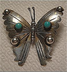 Detailed Butterfly Pin/Brooch Sterling Silver 925 Mexico Signed JM/Bat Faux Turquoise