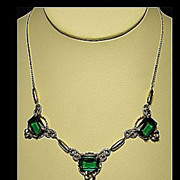 Vintage Gold Filled Faux Green Emerald, Scrolls & Flowers Gold Tone Dainty Necklace