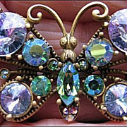 Vintage Pin/Brooch Glitzy Butterfly Purple Head Light, Blue, Aurora Borealis Rhinestone