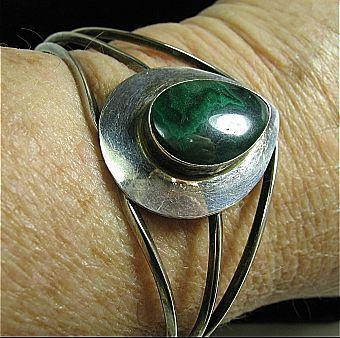 Sterling Silver 925 & Malachite Modern Open Cuff  Bracelet Adjustable Small-Lg