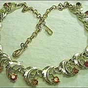 Vintage Signed Coro Rhinestone Topaz/Champagne Gold Tone Necklace