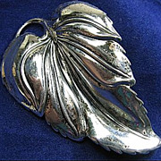 Vintage Signed Danecraft Sterling Silver 925 Leaf Brooch/Pin