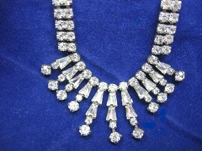 Rhinestone Silver Tone Dressy Drippy Bride/Bridal Vintage Necklace