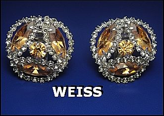 Vintage Signed Earrings Weiss Sparkling Topaz & Smokey Grey Rhinestone Silver Tone