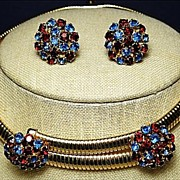Vintage Necklace & Earrings SET Demi-Parure Blue & Red Rhinestones