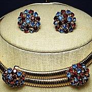Vintage Necklace & Earrings SET Demi-Parure Blue & Red Rhinestones