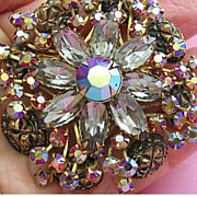 Awesome Vintage Red Aurora Borealis-Smoky-Carved  Rhinestone Flower Brooch/Pin