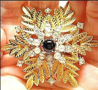 Vintage Designer Jomaz Brooch/Pin Snowflake Blue & Clear Rhinestone Gold/Silver Tone