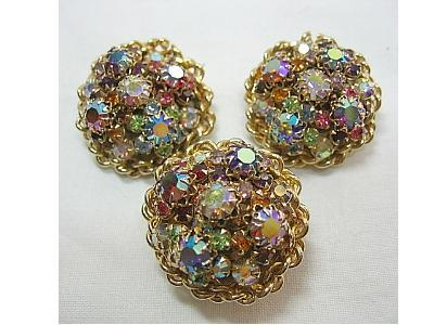 Vintage Earrings & Dress Clip SET Colorful Fancy, Red, Blue, Pink Aurora Borealis Rhinestones Gold Tone