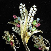 Signed Art Flower Brooch & Earrings Rhinestones & Opalescence Demi-Parure SET