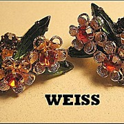 Dainty Vintage Signed Earrings Weiss Orange/Topaz Rhinestone Floral Gold Tone